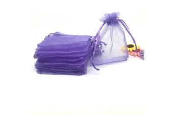 (Lavender) - YIJUE 100pcs 10cm x 15cm Drawstrings Organza Gift Candy Bags Wedding Favours Bags (Lavender)