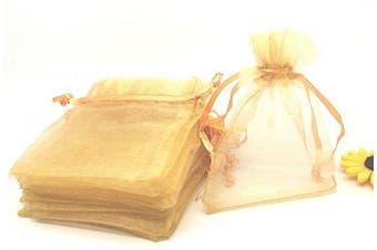 (Gold) - 100pcs 10cm x 15cm Drawstrings Organza Gift Candy Bags Wedding Favours Bags (Gold)