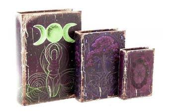 (Purpal Pagan) - Triple Goddess Crescent Moon Pagan The Celtic Tree of Life Pentacle Stash Secret Book Box Wicca