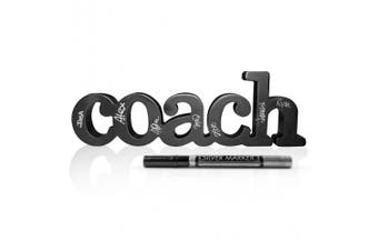 (Coach with Pen) - Coach Wood Word with Silver Pen | Wood Words by ChalkTalk SPORTS | Coach Gift | Shelf and Desk Décor | Ready to Autograph