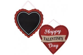 Valentine's Day Red and Black Wooden-Heart Wall Decorations, 27cm