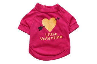 """(L, Rose Red) - BBEART Pet Clothes, """"Little Valentine"""" Printed T-shirt Small Dogs Summer Vest Costume Cute Puppy Clothes Apparel For Spring Autumn"""
