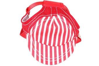 (Size M, Red) - BUYITNOW Pet Sun Protection Hat with Ear Holes Adjustable Stripe Baseball Cap for Medium Large Dog