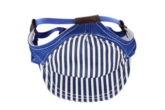 (Size L, Blue) - BUYITNOW Pet Sun Protection Hat with Ear Holes Adjustable Stripe Baseball Cap for Medium Large Dog