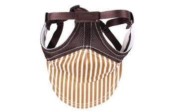 (Size L, Coffee) - BUYITNOW Pet Sun Protection Hat with Ear Holes Adjustable Stripe Baseball Cap for Medium Large Dog