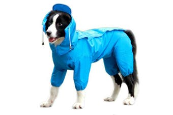 (Large, Blue) - Alfie Pet by Petoga Couture - Bella Rainy Days Waterproof Raincoat (for Dogs and Cats)