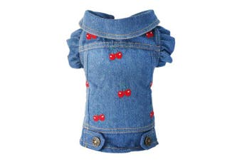 (XS, Cherry) - SILD Pet Clothes Dog Jeans Jacket Cool Blue Denim Coat Small Medium Dogs Lapel Vests Classic Puppy Hoodies