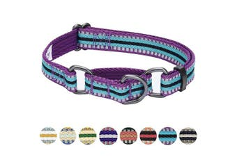 (Martingale Collar - Medium, Violet and Celeste) - Blueberry Pet 10 Colours Multi-Coloured Stripe Collection - 3M Reflective Collars, Harnesses, Leashes, Seatbelts or Lanyards