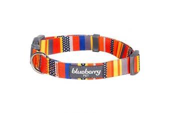 (Regular Collar - Medium, Nautical Flags) - Blueberry Pet 10 Patterns Geometric Designer Dog Collars, Harnesses or Leashes
