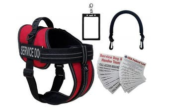 (XL - girth 70cm  - 100cm ) - ActiveDogs Service Dog Vest Harness + Free Clip-on Bridge Handle + Free Clip-on ID Carrier + Free 30 ADA/Federal Law Information Cards + Free Reflective Service Dog Patches