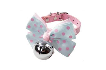 (S) - BUYITNOW Pet PU Leather Collar Bowtie with Bell Bowknot for Small Dogs Cats, Adjustable Buckle