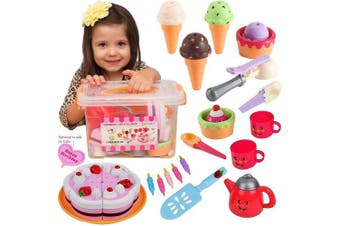 Pretend Play Food Ice Cream - Toy Food Desserts Cake - Play Tea set - with Beautiful Storage Box | Great for any Toy Kitchen Set or for Birthday Party