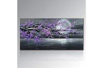 (Framed 100cm W x 50cm H) - Konda Art - Framed Plum Blossom Abstract Purple Flower Wall Art Painting Ready to Hang Modern Decoration Artwork On Canvas (Framed 100cm W x 50cm H)