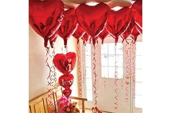 12 + 1 Red Heart Shape Balloons - 1 I Love U Balloon - Helium Supported - Love Balloons - Valentines Day Decorations and Gift Idea for Him or Her, Wedding Birthday Decorations,Ribbon & Straw Included