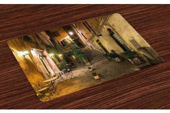 Italian Place Mats Set of 4 by Ambesonne, Old Courtyard Rome Italy Cafe Chairs City Historic Ambience Houses Street, Washable Placemats for Dining Room Kitchen Table Decoration, Orange Brown Green