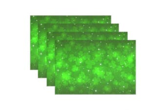 (4) - My Daily Green Clover Stars St. Patrick's Day Placemats for Dining Table Set of 4 Heat Resistant Washable Polyester Kitchen Table Mats