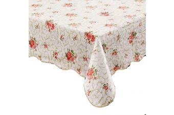 (150cm  X 310cm , Red Flower) - Artisan Flair AF60122-094 Red Flower Flannel Backed Vinyl Tablecloth Waterproof Oblong(Rectangle)-150cm x 310cm