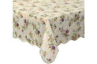 (150cm  X 310cm , Vintage Flower) - Artisan Flair AF60122-028 Scalloped Edged Vintage Flower Flannel Backed Vinyl Kicthen Table Cover -150cm x 310cm