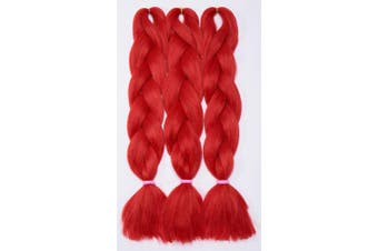 (60cm  Straight, Red) - Rich Choices 3 Pcs/300g 60cm Two Ombre Kanekalon Braiding Hair Synthetic Braid Hair Extensions Red