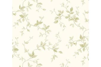 Chesapeake SM21574 Leaf Ivy Toile Wallpaper, Green on White