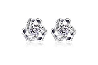 (1) - B.Catcher Women Jewellery Eternal Love Earrings Studs 925 Sterling Silver Cubic Zirconia Knot Stud Earing Set