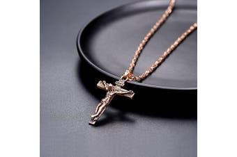 PROSTEEL Cross Necklace INRI Crucifix Jesus Pendant with Chain --55+5CM, Stainless Steel/18K Gold/Rose Gold/Black Colour (Send Gift Box,Velvet)