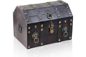 (Lion 13,0x9,1x9,4 Inch) - Brynnberg wooden pirate treasure chest   decorative storage box model   Vintage decoration handmade (Lionshead 13x 9inch x 24cm )