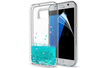 (Turquoise) - Samsung S7 Case Glitter with HD Screen Protector, LeYi Shiny Liquid Sparkly Bling Quicksand Cute Slim Clear Transparent TPU Gel Elastic Silicone Shockproof Protective Phone Cover Cases for Samsung Galaxy S7 G930 ZX Turquoise