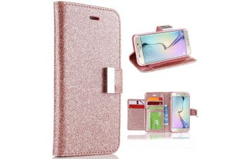 (Samsung Galaxy A3 2017 Version, Rose Gold) - For A3 (2017) Case, Galaxy A3 (2017) Wallet Case, Shiny Sparkle Glitter Bling PU Leather [Magnetic Closure][Metal Buckle] Flip Kickstand Wallet Case with 5 Card Slots-Rose Gold