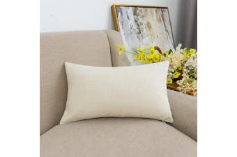 "(12""x20"", Light Linen) - Lined Linen Throw Pillow Cover Cushion Case from Jeanerlor Home Decor for Baby/Children, 12x20 inch (30 x 50 cm), Light Linen"