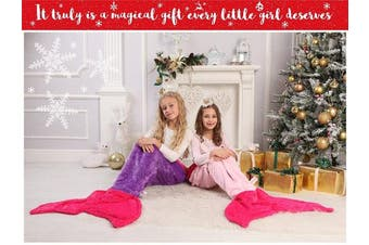 (Kids (140cm  x 50cm ), Hot Pink and Light Pink) - Mermaid Tail Blanket - Soft and Warm Polar Fleece Fabric Blanket by Cuddly Blankets for Kids and Teens (Ages 3-12) (Hot Pink and Light Pink)