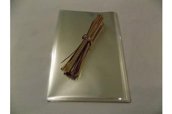 """(Gold, 5"""" x 7"""") - 100 x Clear cello Display Bags & Metallic Twist Ties for Sweets-Food safe (Gold, 13cm x 18cm )"""