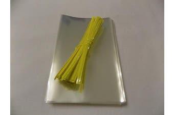 "(Yellow, 4"" x 6"") - 50 Cello Bags & Polka Dot Twist Ties (Yellow, 10cm x 15cm )"