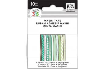 (Green Hues) - Happy Planner Mini Washi Tape 3mmx6.56yd Each 10/Pkg