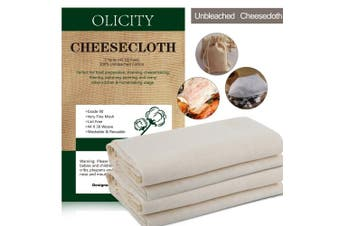 (Grade90-5Yards) - Colperun Cheesecloth, Grade 90, 4.2sqm, 100% Unbleached Cotton Fabric Ultra Fine Muslin Cloths for Butter, Cooking, Strainer, Baking, Hallowmas Decorations (Grade 90-5 Yards)