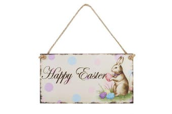 OULII Easter gift Happy Easter Plaque Wooden Rabbit Hanging Plaque Festival Wall Door Decorative Sign Hanger Home Decoration Photo Props Favours