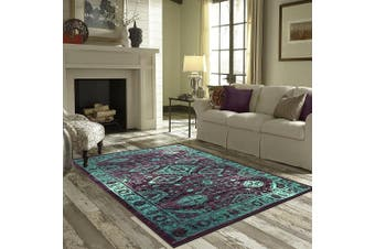 (0.3mx0.6m, Wineberry/Spa) - Accent Rug, Maples Rugs [Made in USA][Georgina] 0.3m2.4m x 0.6m10 Non Slip Padded Small Throw Rugs for Living Room, Bedroom, and Kitchen - Wineberry/Teal