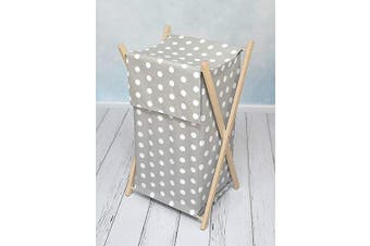 (Dots grey) - Baby Laundry Basket Nursery Hamper Bag Storage BIN with Removable Linen 70 Litre Natural Wood Frame (Dots Grey)