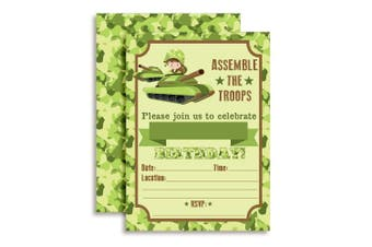 Army Tank Assemble the Troops Birthday Party Invitations, Ten 13cm x 18cm Fill In Cards with 10 White Envelopes by AmandaCreation.