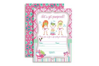 Spa Pampering Birthday Party Invitations for Girls, Ten 13cm x 18cm Fill In Cards with 10 White Envelopes by AmandaCreation.