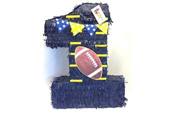 APINATA4U Large Number One Football Theme Pinata 60cm Tall Blue with Yellow Detail