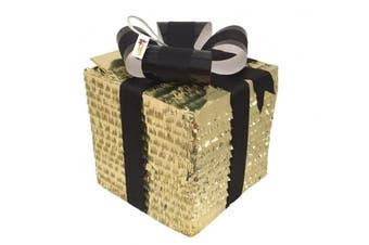 APINATA4U Gold Gift Box Pinata with Black Bow / Gender Reveal Pinata