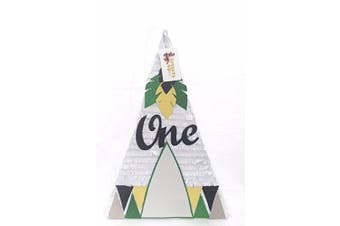 APINATA4U White Teepee Pinata with Green, Yellow, Black detail for first Birthday