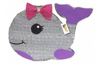 APINATA4U Grey Baby Whale Pinata with Pink Bow Nautical Theme Party Favour