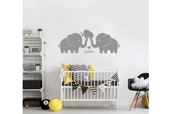 (Gray) - Nursery wall stickers by BDECOLL,3 Elephants-Love in Family-Baby room decorations,Family wall stickers(Grey)