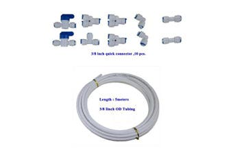(White tubing 5 meters) - YZM 10 pcs 1cm Quick Connect Push In to Connect Water Purifiers Tube Fittings for RO Water Reverse Osmosis System+5 metres(16 feet)white tubing hose pipe .