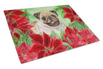 Caroline's Treasures CK1365LCB Fawn Pug Poinsettas Glass Cutting Board Large , 12H x 16W, multicolor