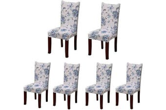 (6, Style 20) - Jiuhong Stretch Removable Washable Short Dining Chair Protector Cover Slipcover (6, Style 20)