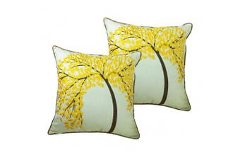 (Yellow-2pc) - ZUODU Yellow Cushion Covers 18x18 Inch 2PC 45cmx45cm Embroidered Cotton Linen Decorative Throw Pillow Cover Cushion Case Pillow Case - The Tree of Life (Yellow with Frame) (YELLOW-2PC)