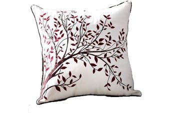 (Happy Tree- Red) - ZUODU Red Cushion Cover Sofa Cushion Cover Super Soft Red Cushion Cover Home Decor Cushion 45cmx45cm Embroidery Cotton Linen Decorative Throw Pillow Cover Cushion Case Pillow Case -Red Happy Tree